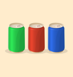 Soda in a tin in red green and blue color vector