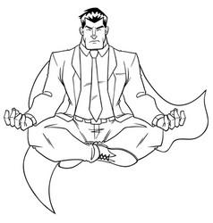 super businessman meditating line art vector image