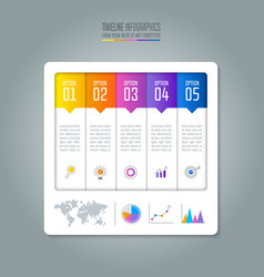 Timeline infographic business concept with 5 vector