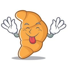 Tongue out croissant character cartoon style vector