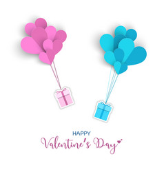 valentines day with gift box and heart paper cut vector image