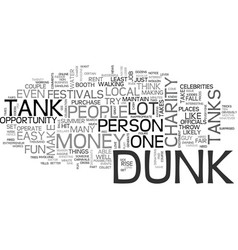 What is a dunk tank text word cloud concept vector