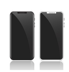 white and black smartphone mockup with black vector image