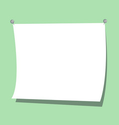 white curved paper with copy space on light green vector image