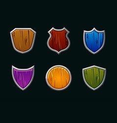 wooden shields in different shape and vector image
