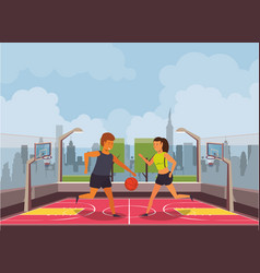 Young couple athletes playing basketball with vector