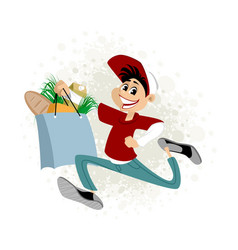 young man delivering food vector image