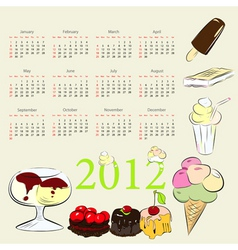 calendar for 2012 with sweets vector image vector image