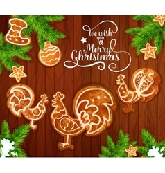 Christmas gingerbread on wooden background vector