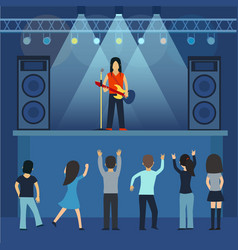 Concert pop group artists on scene music stage vector