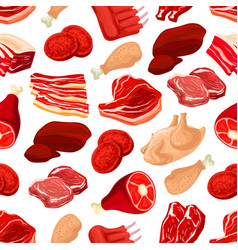fresh pork and beef meat seamless pattern vector image vector image
