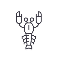 lobster line icon sign on vector image vector image