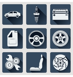 Set of icons auto parts Flat design with long vector image