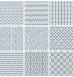set of simple mono line patterns vector image