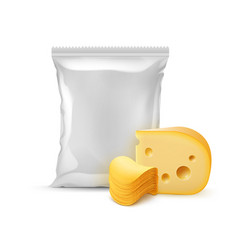 stack of potato chips with cheese and bag vector image vector image