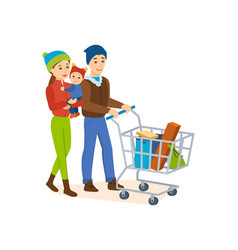 The family walks on the store for shopping vector