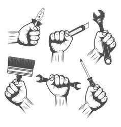 Work Tools In Hands Set vector image