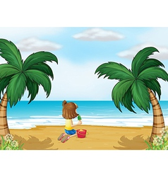 A little girl playing at the beach alone vector image