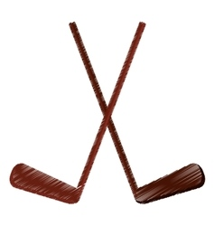 colored two hockey game stick vector image