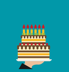 Hand holding birthday cake flat vector