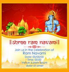 lord rama with bow arrow in ram navami vector image vector image