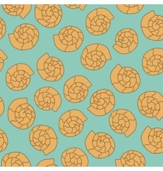 Shell seamless pattern on the blue background vector image vector image