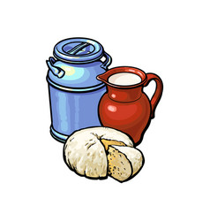 sketch milk-can milk pitcher cheese set vector image
