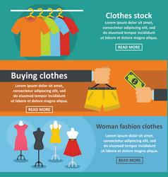 clothes fashion banner horizontal set flat style vector image