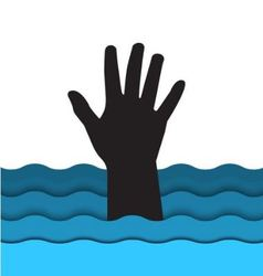 drowning man hand sticking out of the water vector image vector image
