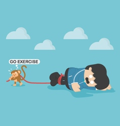 Monkey force obese people to exercise Exhaustion vector image vector image