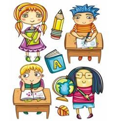 schoolchildren set 2 vector image vector image