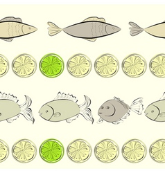 seamless background with fish and lemon vector image