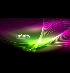 abstract wave on dark background shiny glowing vector image