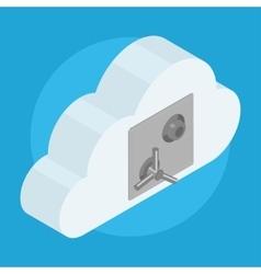 Cloud locked on safe door vector image
