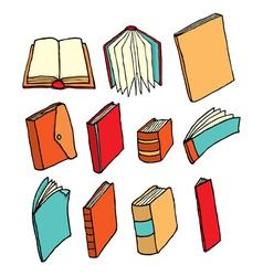 Colorful cartoon book and printed media set vector image
