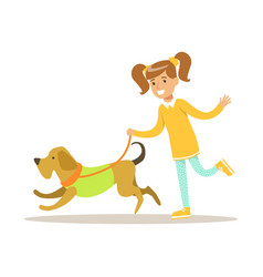 cute smiling girl walking with her dog colorful vector image