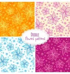 Hand drawn flower seamless patterns set vector image