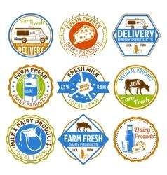 Milk colored emblems vector