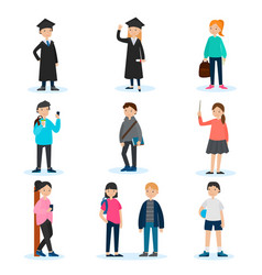 people in university set vector image vector image