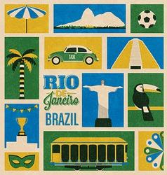 Retro Rio Icons vector image
