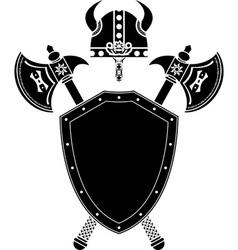 shield axes and viking helmet vector image vector image