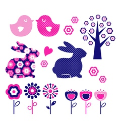 spring and easter design elements vector image
