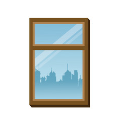 window frame glass urban building view vector image