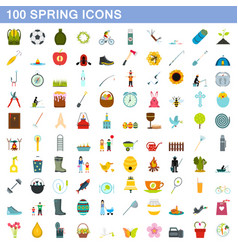 100 spring icons set flat style vector image