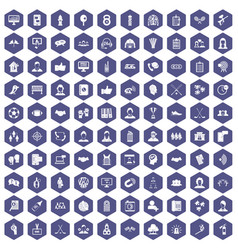 100 team icons hexagon purple vector image