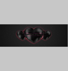 abstract space with black heart background vector image