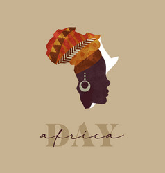 Africa day black woman african map concept card vector