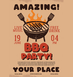 amazing barbecue party flyer bbq poster template vector image
