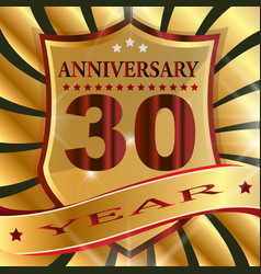Anniversary 30 th label with ribbon vector