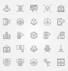 Augmented reality icons set ar outline vector